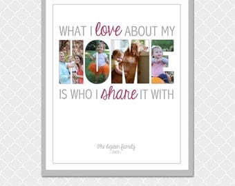 HOME picture word - Customized digital print - 8x10- Family gift and keepsake