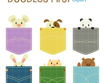 Pocket Animals Digital Clip Art for Scrapbooking Card Making Cupcake Toppers Paper Crafts