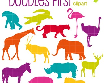 Colorful Animal Silhouettes SET 1 Digital Clip Art for Scrapbooking Card Making Cupcake Toppers Paper Crafts