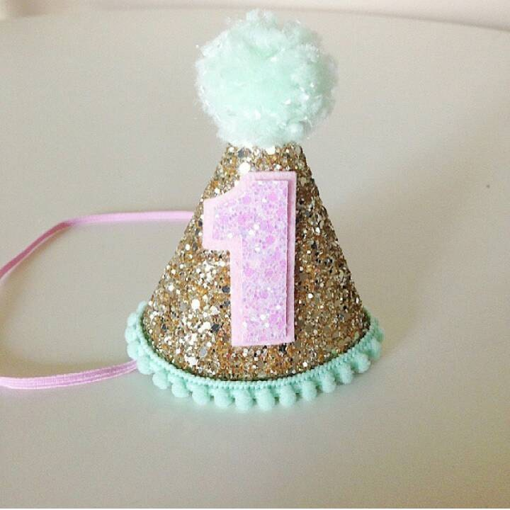First Birthday Party In A Box In Gold Mint And Pink: Party Hat Gold Pink And Mint First Birthday Glitter Party