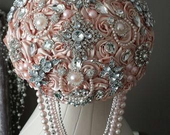 Brooches wedding bouquet in Powder salmon / pink