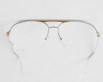 1b0202cade7 Vintage ESSILOR Nylor Half Rimless Eyeglasses   Unisex Light Frame   Nerd  Unisex Aviator Glasses