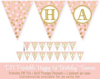 Blush Pink Gold Glitter Happy 1st Birthday 60th - Printable Party Pennant Banner 8x10 Large Flags - Girl First Bday Big One INSTANT DOWNLOAD