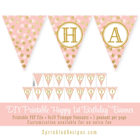I Am One Pink And Gold Birthday Party Decorations One High: Blush Pink Gold Glitter Happy 1st Birthday 60th