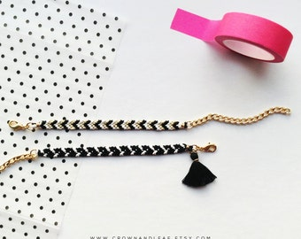 Set of Two / Black and White / Gold Chain Friendship Bracelet / Woven Bracelet / Chevron Bracelet / Gold Chain Bracelet / Tassel Bracelet