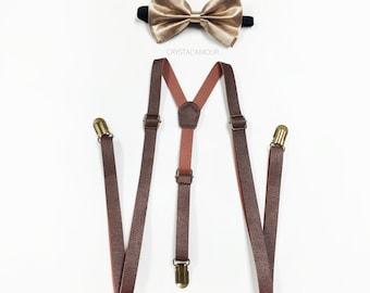 Brown Suspenders, Champagne Bowtie, brown leather suspenders, Light gold bowtie set, Men's Suspenders, Barnyard Wedding, Groomsmen