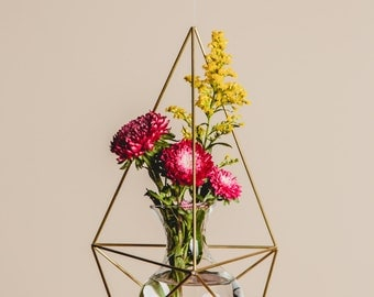 Himmeli Figure 1 || The Happy Planter || Modern Minimalist Geometric Hanging Ornament, Mobile, and Air Plant Holder