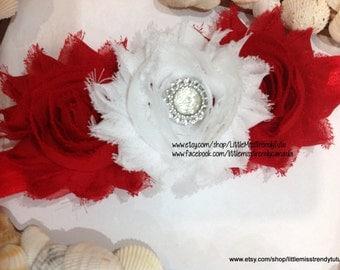 Red and White Christmas Headband, Shabby Chic Baby Headband, Christmas Headband, Red Christmas Headband, Shabby Red and White Headband