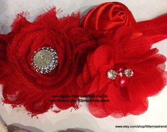 Couture Christmas Headband, Christmas Headband, Couture Headband, Red Christmas Headband, Red Couture Christmas Headband