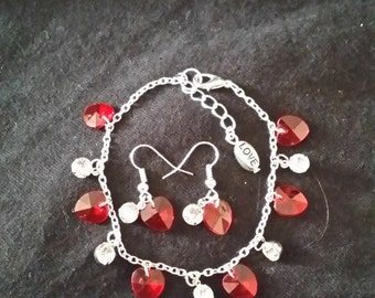 Valentine's Day Silver Bracelet and Earring Set with Red Hearts and Crystal Gems