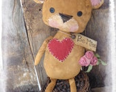 "Primitive 19"" Teddy Bear with Roses, Valentine Gift, Brown Bear, Primitive Valentine Decor, Folk Art Doll, OFG FAAP"