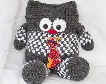 Henri, crochet plush toy, one-of-a-kind plushie - Peluche crochetée et unique