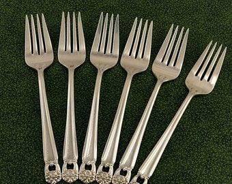 6 Salad Forks 1847 Rogers ETERNALLY YOURS Vintage 1941 Silverplate Flatware Silverware Silver Plate