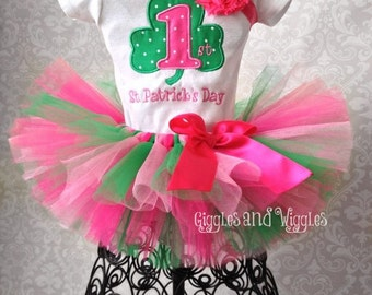 1st St. Patrick's Day Tutu Outfit, Shamrock Tutu Outfit
