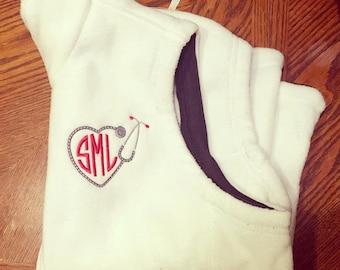 Monogram stethoscope fleece vest