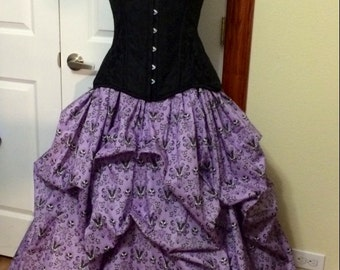 Haunted Mansion Bustle Skirt  CUSTOM MADE to order Cotton Steampunk Victorian Pick-up