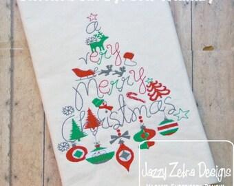 Merry Christmas Embroidery Design - Christmas Embroidery Design - Christmas tree Embroidery Design