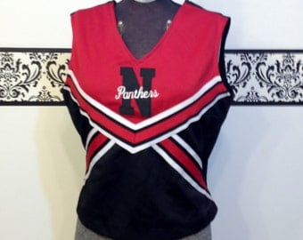 1980's Rockabilly Cheerleader Tank Top in Cherry Red & Jet Black, Size Large, Vintage Pin Up Varsity Shirt, Rockabilly Cheerleader Blouse
