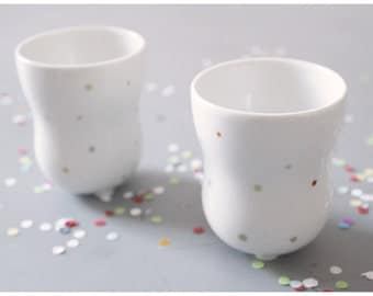 milky // porcelain tumbler with colorful polka dots