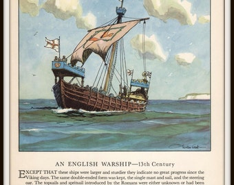 Vintage Ship Art Print, 13th Century English Warship, Nautical Art by Gordon Grant, 1930s Book Illustration, Ready to Frame