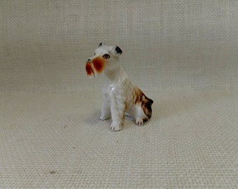 Airedale or Schnauzer Porcelain Figurine Hand Painted - Precious Mid Century