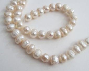 Creamy white fresh water pearls, 6mm, 49 pearls