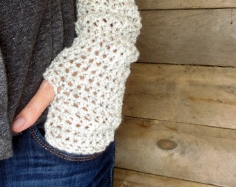 Crochet extra long fingerless gloves/wrist warmers in wheat