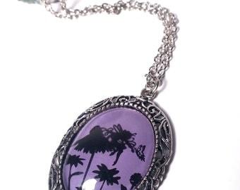 Purple Fairy Pendant; Silver and Purple Pendant