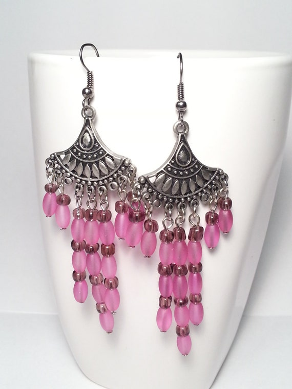 Fuschia Chandelier Earrings Hot Pink by DCArtand graphy
