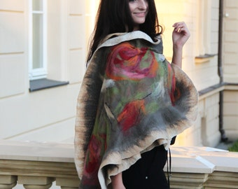 Luxury large silk shawl, exclusive, expensive, luxury, Handmade in one pcs. One copy! To silk dress, evaning, party, romantic, wedding