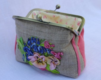 Clutch Purse Bag Silk Ribbon Embroidered with Blue Bluebells and Pink Pansies.