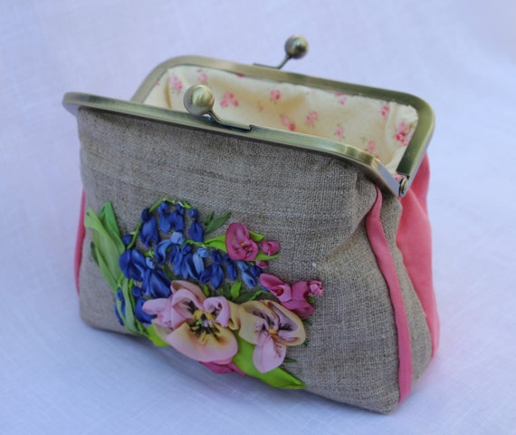 Clutch purse bag silk ribbon embroidered with blue bluebells