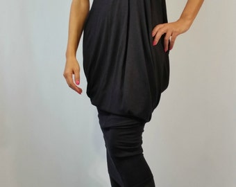 "Long Asymmetrical Jersey Dress/ Extravagant Maxi Dress/ Loose Tunic Dress - ""A Grape Fit "" / MD 10073"