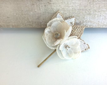 Burlap Hairpiece, Lace Wedding Hair Clip, Ivory Flowers, Bridal Hair Piece, Rustic Wedding Hair Accessories, Chiffon Flower Girl Headpiece