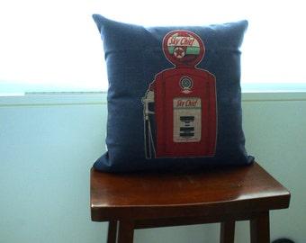 Vintage Style Linen Pillow Case / Cushion Cover -- Vintage Gas Pump Print
