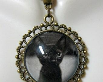 Black kitten pendant and chain - CAP25-008
