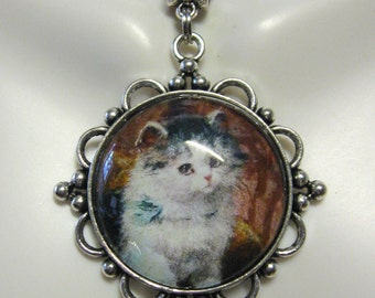 Blue bow kitten pendant with chain - CAP26-037