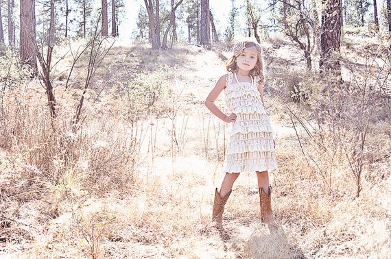 champagne flower girl dress lace baby dress by On farm girl wedding dresses