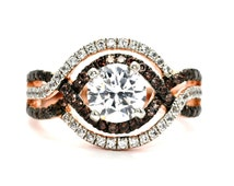 Unique Halo Infinity Rose Gold, White & Chocolate Brown Diamonds Engagement Ring, Anniversary Ring With 1 Carat Forever Brilliant Moissanite