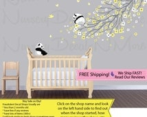 Yellow Flower Decal, Panda Tree Branch Decal, Panda Decal (Yellow Grey LongBranchPanda) PRDB2 B76_F1-80_F2-2_C91_Bu2