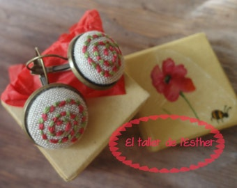 Earrings Genuine hand embroidery