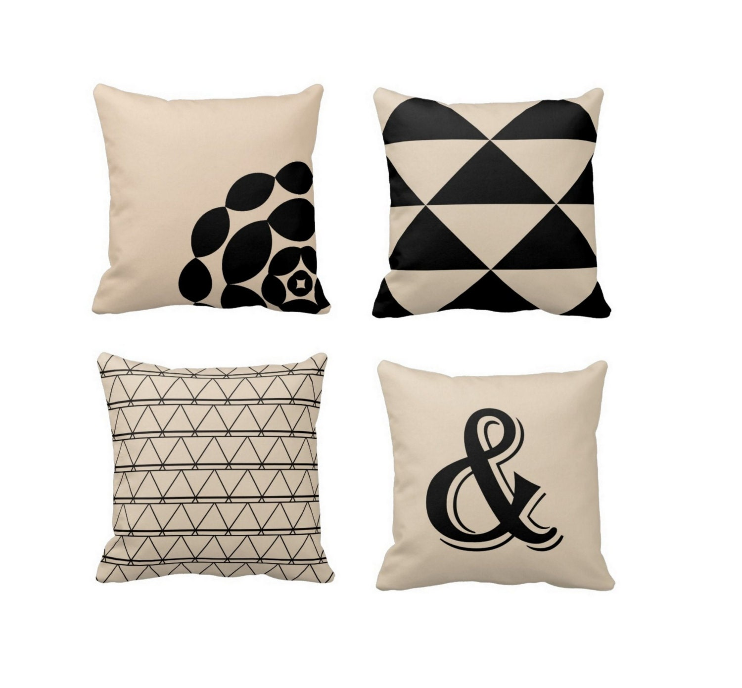 Throw Pillow Covers Black Beige Pillows Neutral by HLBhomedesigns