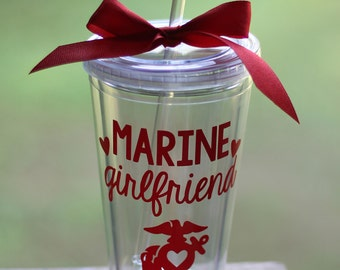 ON SALE! Any Color: Marine Girlfriend/Wife/Mom/etc EGA with Heart Cutout 16oz Tumbler