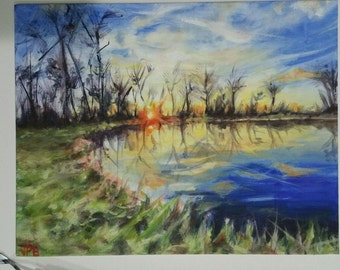 "Acrylic painting original 11""x14"" landscape picture, sky, sunset, tree image"