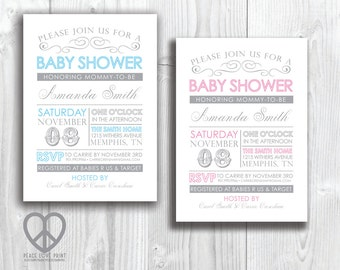 Vintage Baby Shower 5x7 Printable Invitation - Available in Pink or Blue