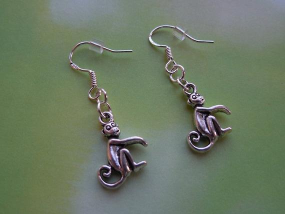monkey earrings silver charm jewelry sterling by fancyflairltd