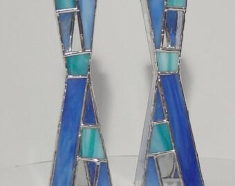 Custom Handmade Stained Glass Shabbat Candlesticks