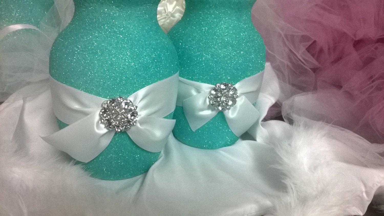 Blue Wedding Centerpiece Vase Glitter