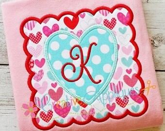 Heart Scallop Square Valentine Machine Embroidery Applique Design 4 Sizes