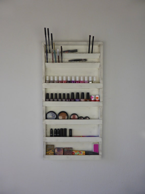 Hanging Shelves Makeup: Nail polish rack display makeup organizer by ...